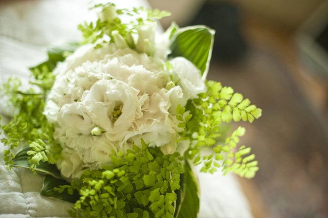 Bridal bouquet of maidenhair fern and lisianthus