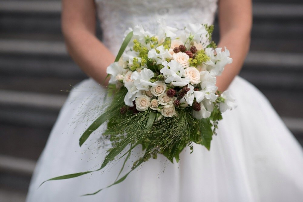 Bridal bouquet with blackberries and sweet peas
