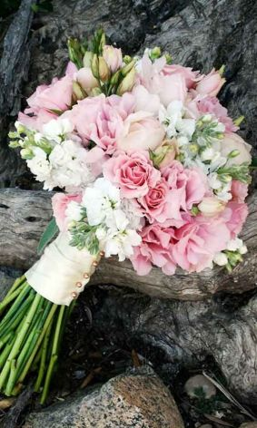 Bridal bouquet with lisianthus
